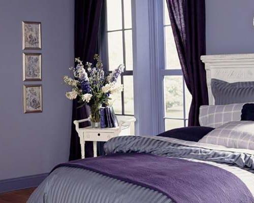 λιλα χρώματα για κρεβατοκάμαρα